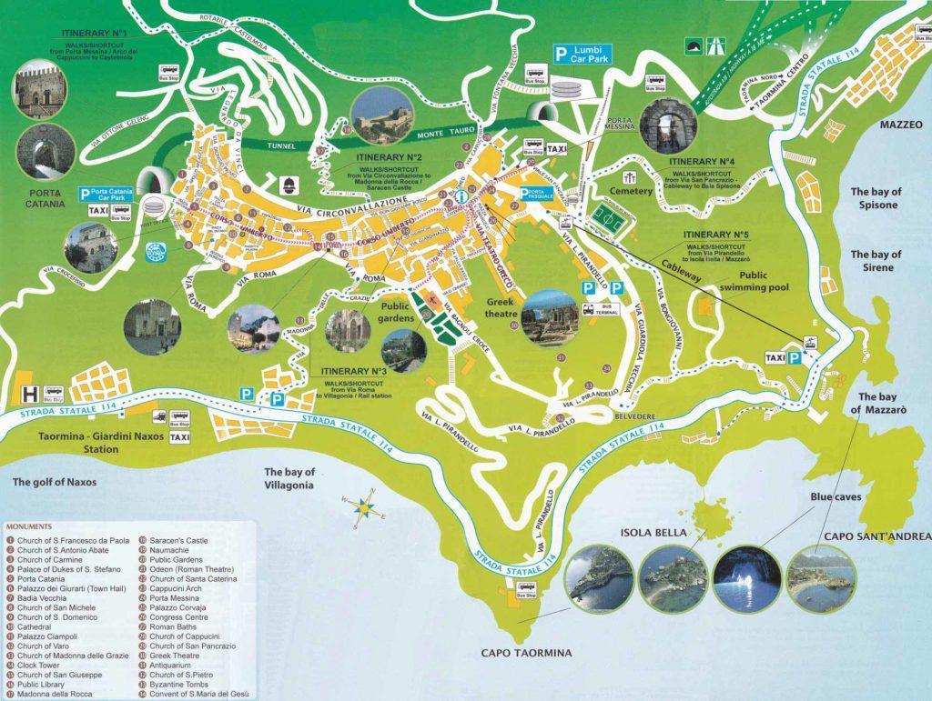 taormina mappa tour da taobook