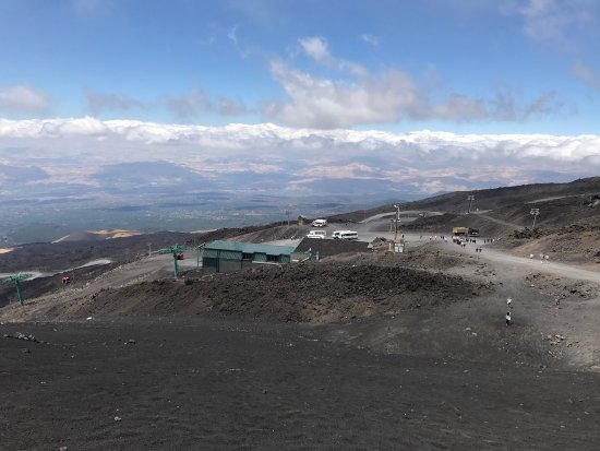 etna cablecar station at 2.800m on the sea