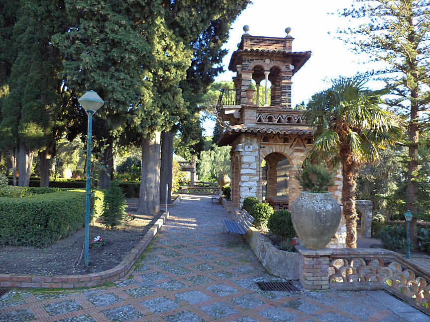 Victorian follies little building inside public garden in taormina