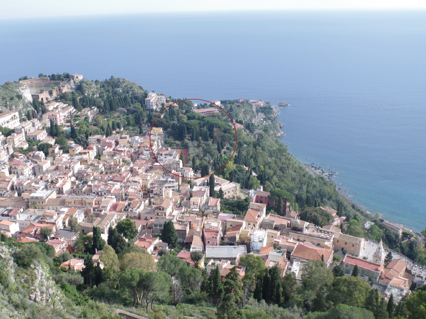 taormina public garden from panoramic point of view